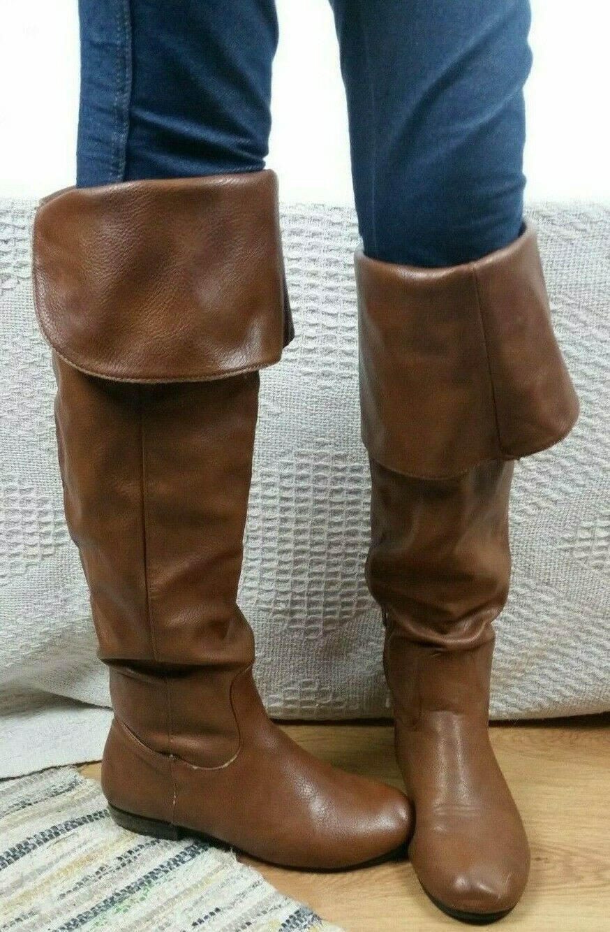 Tan Nude Brown Kneehigh Turn Down Boots Bebo Size UK 4 Spring Neutral
