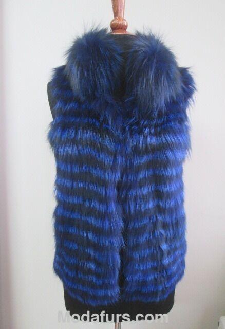 Women's Sz 4 6 Brand Brand Brand New bluee Fox Fur Vest  CLEARANCE SALE  Small b7c766