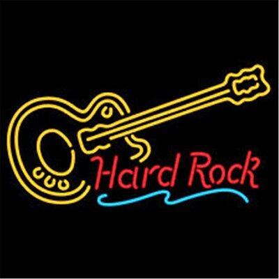 "Hard ROCK LIVE MUSIC Guitar Neon Light Sign Display Beer Bar Pub Club 17""x14"""