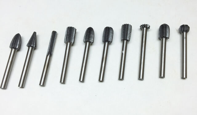 "ALLOY STEEL 10pc BURR SET 1//8/"" SHANK 1//4/"" HEAD FOR ROTARY TOOLS #8111"