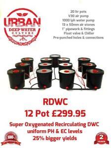 Details about 20L 12 Pot Urban Deep Water Culture 4 Lane Hydroponic System  Alien IWS RUSH DWC