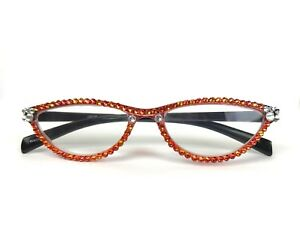 482e5c1f0639 Image is loading CAT-EYE-READING-GLASSES-MADE-WITH-SWAROVSKI-CRYSTAL