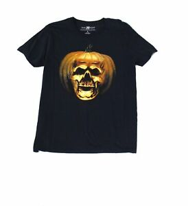 Halloween-Mens-T-Shirt-Black-Size-Large-L-Pumpkin-Graphic-Crew-Tee-22-199