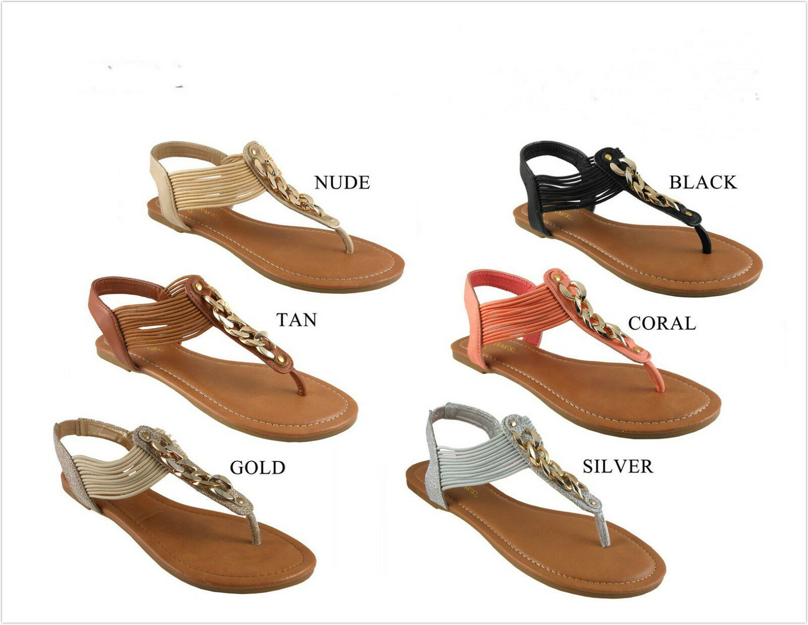 Brand New Women's Fashion Strings Shoes & Metal Cable Sandal Shoes Strings Size 6 - 10 f26940