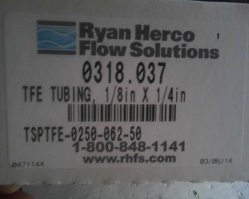 "PTFE Tubing 0.25""odd x 0.125""ld=1//8in x 1//4in 50feet/'s"