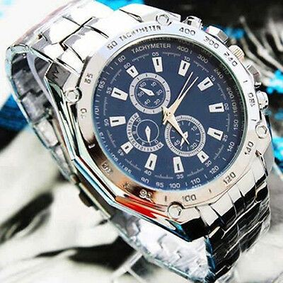 Fashion Mens Cool Stainless Steel Quartz Analog Sport Wrist Watch 3 Colors B52U