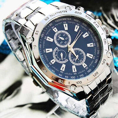 Fashion Business Mens Stainless Steel Sport Quartz Analog Wristwatch Luxury BA4A