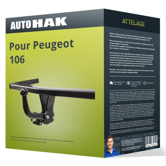 Attelage pour Peugeot 106 05.1996 - 07.2003 démontable avec outil Auto Hak ABE