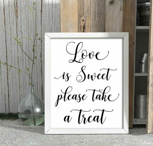 Love Is Sweet Please Take A Treat Wedding Sign Favor Decor Party Print-DSJSP42