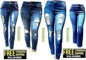 54cc5d01908 Image is loading WOMENS-PLUS-SIZE-Destroy-Distressed-RIPED-BLUE-BOOTCUT-