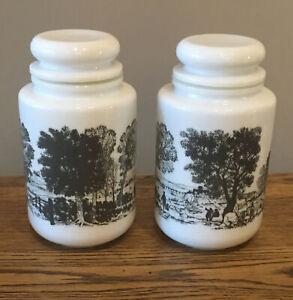 Vintage-Belgian-Milk-Glass-Storage-JarsX2-White-Grey-Countryside-Scene-18-Cm