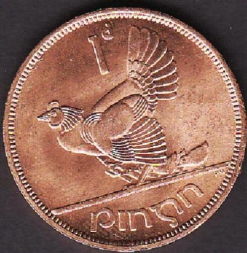 COIN BRONZE HEN WITH CHICKS IRELAND EIRE 1 PENNY 1968 UNC