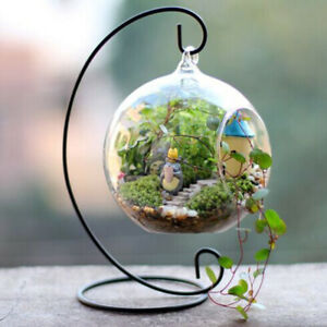 Iron Hanging Plant Glass Vase Terrarium Stand Flower Plant Pot Holder Home Decor