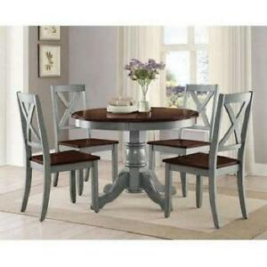 Details About Farmhouse Dining Table Set 5 Piece Chairs Espresso Rustic Blue Wood Kitchen