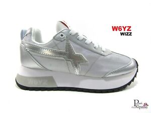 Scarpe da donna sneakers W6YZ WIZZ sportive ginnastica in tessuto casual argento