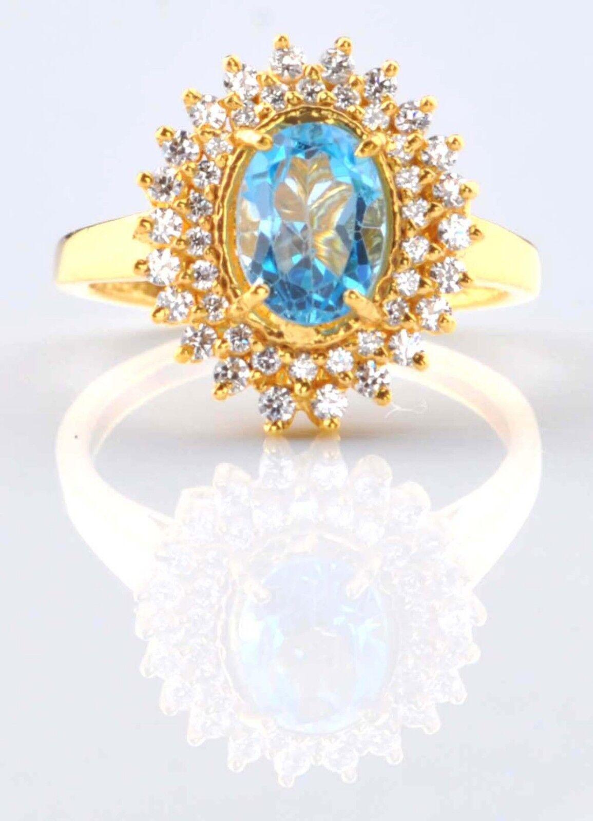 14KT Yellow gold 2.45 Carat Natural bluee Topaz EGL Certified Diamond Ring