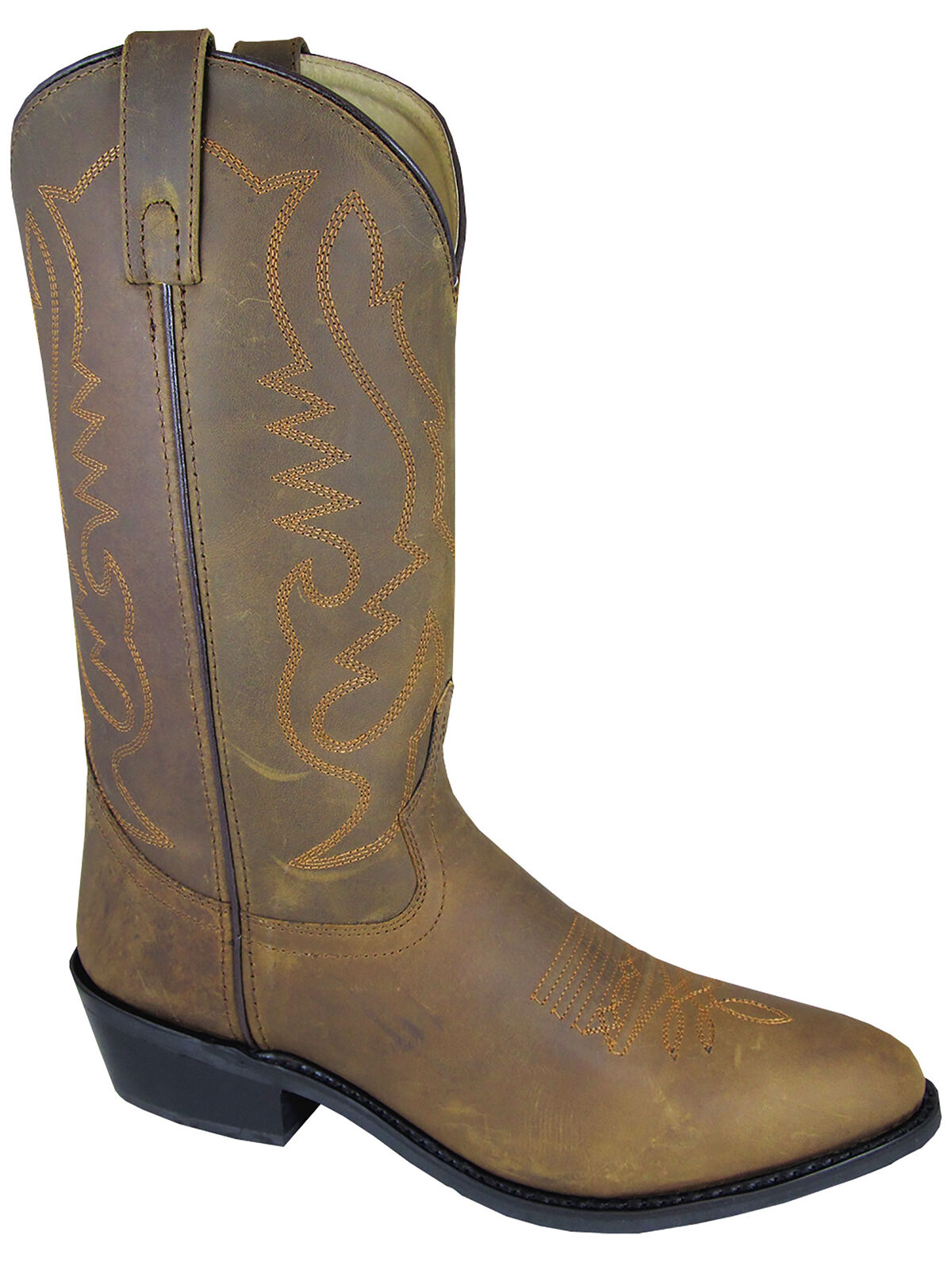 Smoky  Mountain Mens Denver Western Cowboy Boots Leather Embroidery Pull On Brown  support wholesale retail