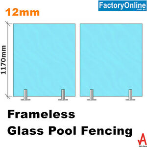 Frameless Glass Pool Fence Panel Toughened Safety 12mm Spigots