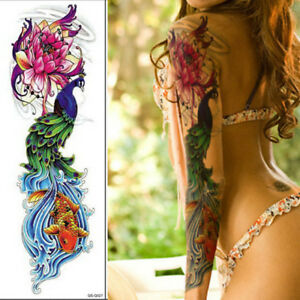 Details About Us 1pc Temporary Tattoo Sticker Full Flower Arm Fish Peacock Lotus Pattern Body