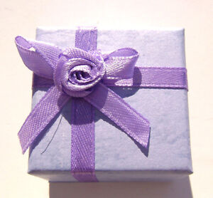 1502PK  Gift Box Ring, Studs, Paper, Lavender Purple with Ribbon & Bow