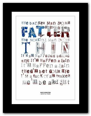 ❤BRUCE SPRINGSTEEN - Jack Of All Trades ❤ lyric poster typography art prints