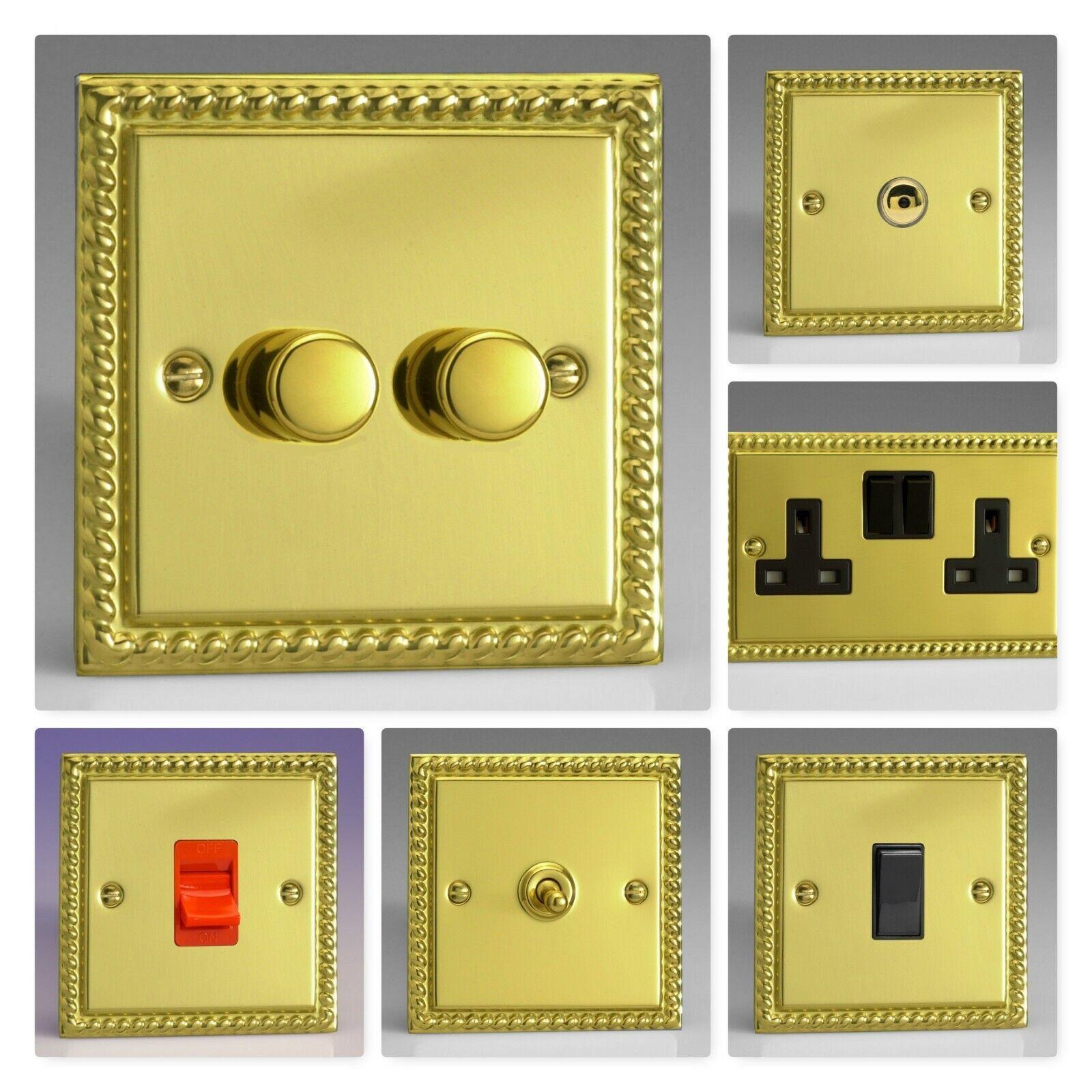 Varilight Georgian Roped Polied Brass XGB Light Switch Sockel Dimmer umschalten