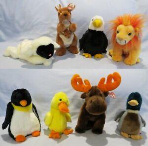 TY Beanie Buddies: CHOPS, POUCH, BALDY, BUSHY, WADDLE, QUACKERS, CHOCOLATE, JAKE