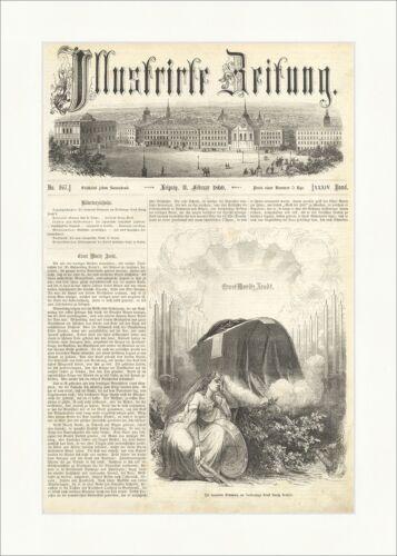Die trauernde Germania am Sarkopharge Ernst Moritz Arndts Holzstich E 10145