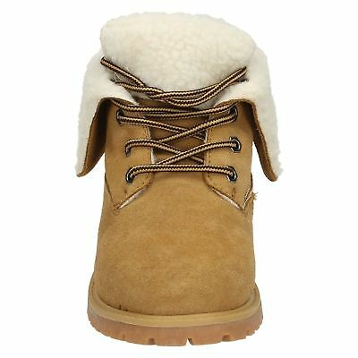 Boys Tan Spot On Faux Fur Lines Lace Up Ankle Fashion Boots H4R112