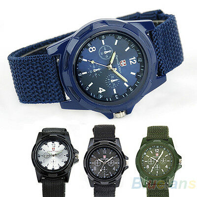 Sport Style Solider Military Army Canvas Belt Luminous Quartz Wrist Watch B52U