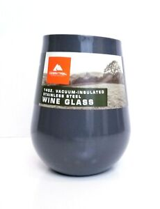 Ozark Trail Vacuum Insulated Stainless Steel Wine Glass 14 Ounce Gray