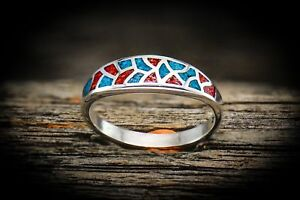 Turquoise-Ladies-Ring-with-Red-Coral-925-Sterling-Silver-Ring