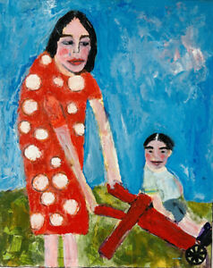 Mother Son Outsider Art Original Mixed Media Painting Katie Jeanne Wood