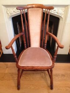 Image Is Loading Antique Arts Amp Crafts Turned Chair Old Vintage