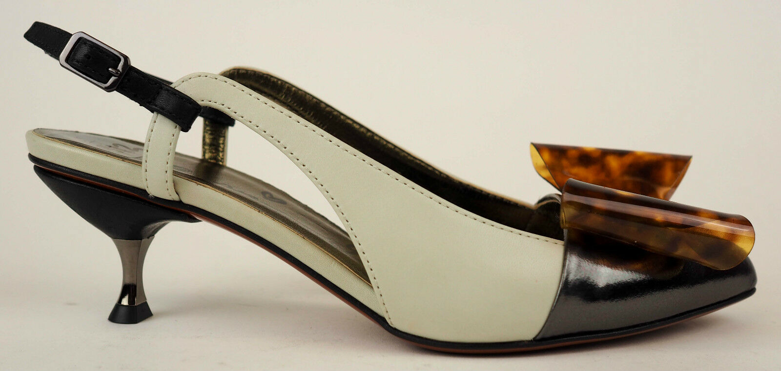 Lanvin White & Grey Slingback Bow Kitten Heels EU 36.5 US 6  890