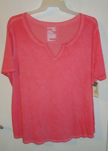30w Relaxed Fit Notch Neck Pink Womens Tee Plus Size 4X Top Ladies Shirt 28w