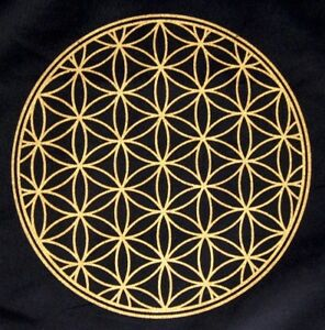 crystal grid cloth flower of life 12 inch black gold 100 cotton