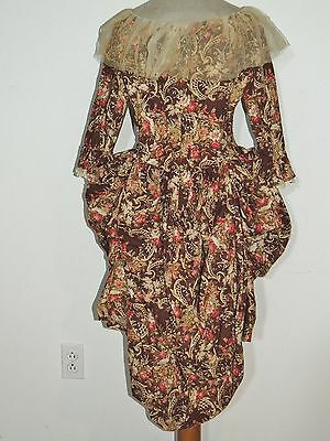 Victorian ca 1880's Printed Cotton Polonaise Bodice / Top MED