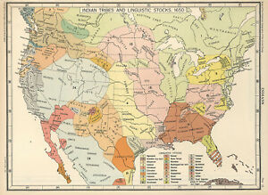 Indian Tribes In Us Map.1650 Us Map Indian Tribes Linguistic Stocks Native American