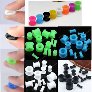 Mixed-Size-Colour-Flexible-Silicone-Double-Ear-Plug-Flare-Tunnels-Earlet-Gauges
