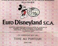 Euro Disneyland hist. Aktie Paris 1983 Frankreich Micky Maus Park Hotel Disney