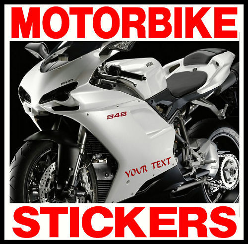 2 X CUS PERSONALISED VINYL MOTORBIKE STICKERS DECALS All Manufacturers Models