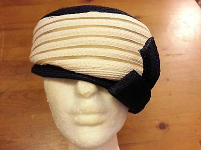 Vintage, Lilly Dache Young Modes - Navy/White, Straw, Cloche Hat with Bow (XS)