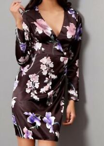 Lipsy-Black-Floral-Printed-Satin-Ruched-Dress-Size-6-RRP-55