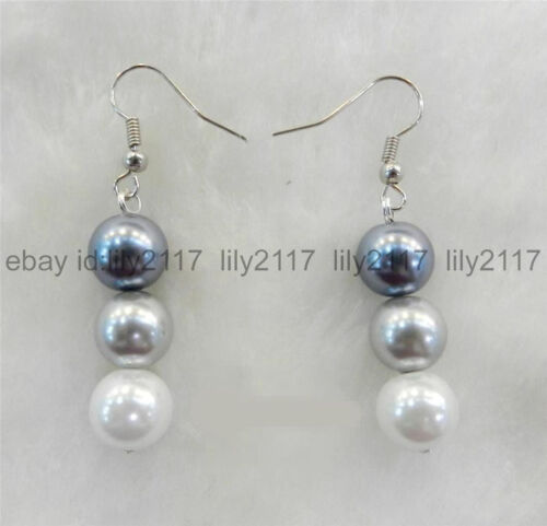 Fashion 8 Mm White Silver Gray SOUTH SEA SHELL pearl silver Hook Dangle Earrings