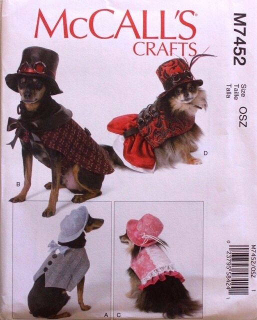 Mccalls Dog Clothes Sewing Pattern M7452 Steampunk Costumes Dress