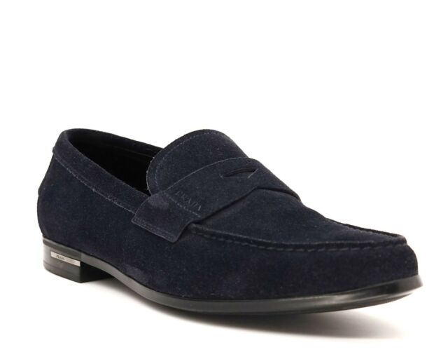 Prada Loafers Slip On Shoes Navy Blue Suede Size 10.5 NIB