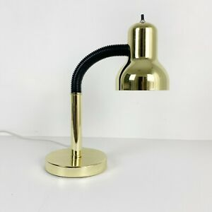 Vintage 80's / 90's  Gold Gooseneck Table Desk Lamp 16""