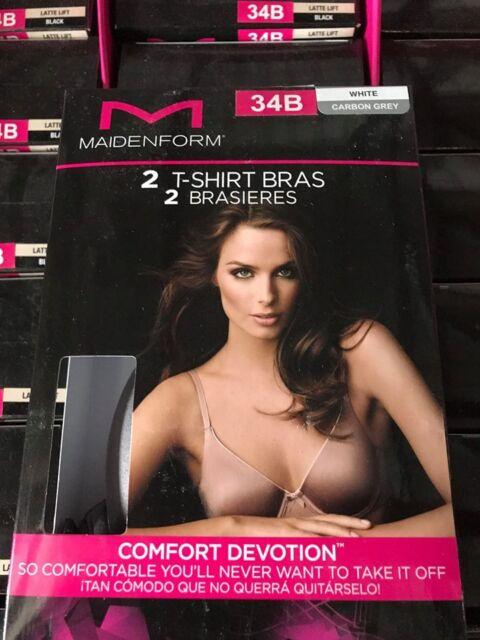 01508bb437 Maidenform Comfort Devotion 2 Pack of T-shirt Bras White carbon Grey ...