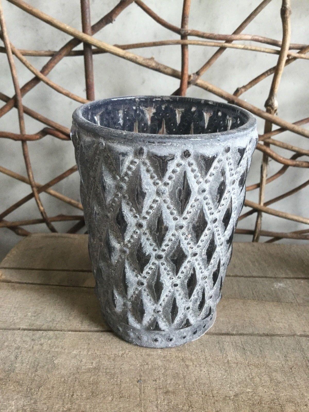 Parlane brown white black white washed lattice design glass tea light holder 9cm